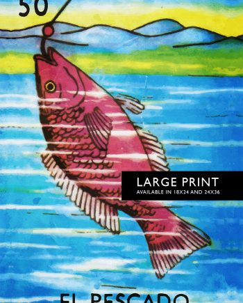 Loteria El Pescado Mexican Retro Illustration Art Print Vintage Giclee Poster Wall Decor - Large Giclee on Cotton Canvas and Satin Photo