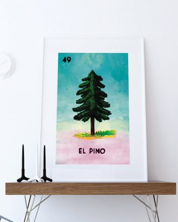 Loteria El Pino Mexican Retro Illustration Art Print Vintage Giclee on Cotton Canvas and Paper Canvas Poster Wall Decor