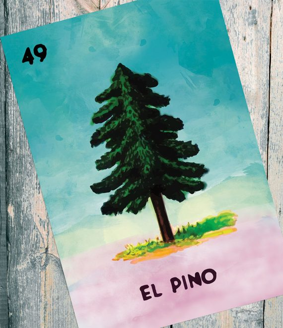 Loteria El Pino Mexican Retro Illustration Art Print Vintage Giclee on Satin or Cotton Canvas Large Poster Wall Decor