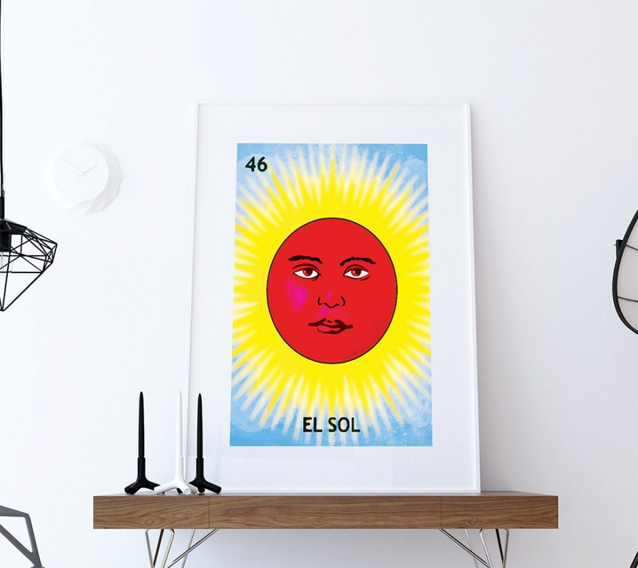 Loteria El Sol Mexican Retro Illustration Art Print Vintage Giclee on Cotton Canvas and Paper Canvas Poster Wall Decor