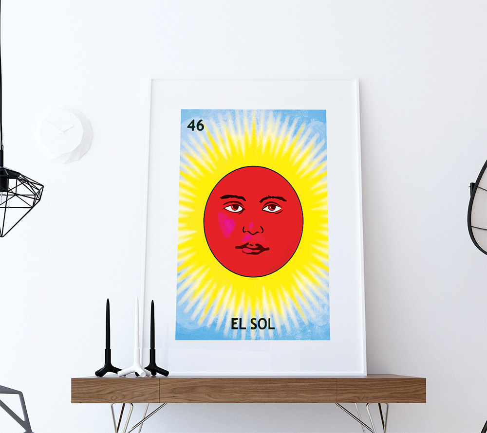 Loteria El Sol Mexican Retro Illustration Art Print Vintage Giclee ...