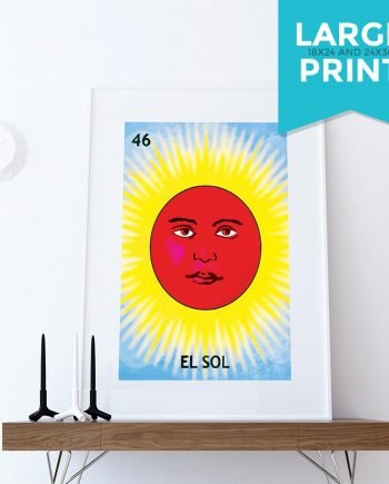 Loteria El Sol Mexican Retro Illustration Large Poster Art Print Vintage Giclee on Satin or Cotton Canvas Wall Decor