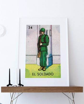 Loteria El Soldado Mexican Retro Illustration Art Print Vintage Giclee on Cotton Canvas or Paper Canvas Poster Wall Decor