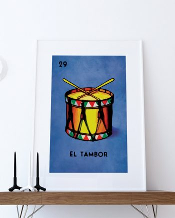 Loteria El Tambor Mexican Retro Illustration Art Print Vintage Giclee on Paper Canvas Poster Wall Decor