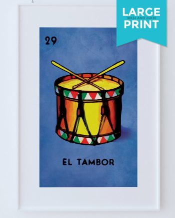 Loteria El Tambor Mexican Retro Illustration Large Poster Art Print Vintage Giclee on Satin or Cotton Canvas Poster Wall Decor