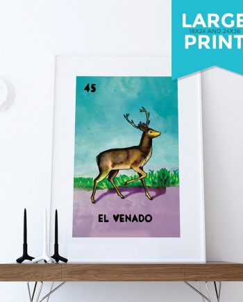 Loteria El Venado Mexican Retro Illustration Art Print Vintage Giclee Large Poster on Satin and Cotton Canvas Poster Wall Decor