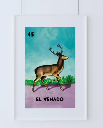 Loteria El Venado Mexican Retro Illustration Art Print Vintage Giclee on Cotton Canvas and Paper Canvas Poster Wall Decor