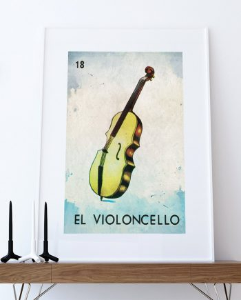 Loteria El Violoncello Mexican Retro Illustration Art Print Vintage Giclee on Cotton Canvas or Paper Canvas Poster Wall Decor