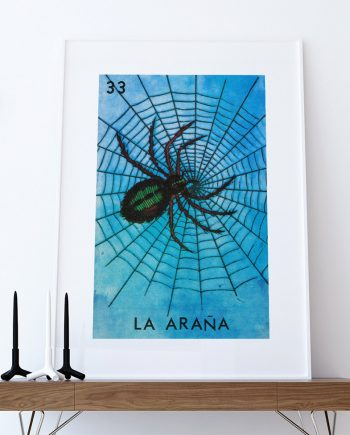 Loteria La Arana Mexican Retro Illustration Art Print Vintage Giclee on Cotton Canvas or Paper Canvas Poster Wall Decor