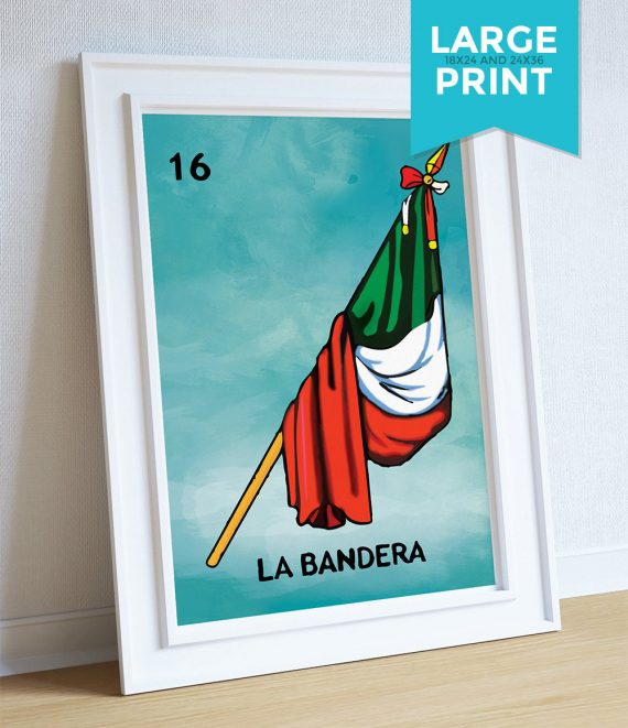 Loteria La Bandera Mexican Retro Illustration Art Print Vintage Giclee on Satin and Cotton Canvas Large Poster Wall Decor