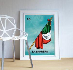 loteria la bandera mexican retro illustration art print vintage