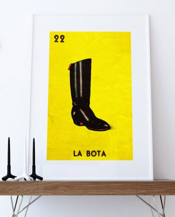 Loteria La Bota Mexican Retro Illustration Art Print Vintage Giclee on Cotton Canvas and Paper Canvas Poster Wall Decor