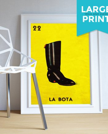 Loteria La Bota Mexican Retro Illustration Art Print Vintage Giclee on Satin or Cotton Canvas Large Poster Wall Decor