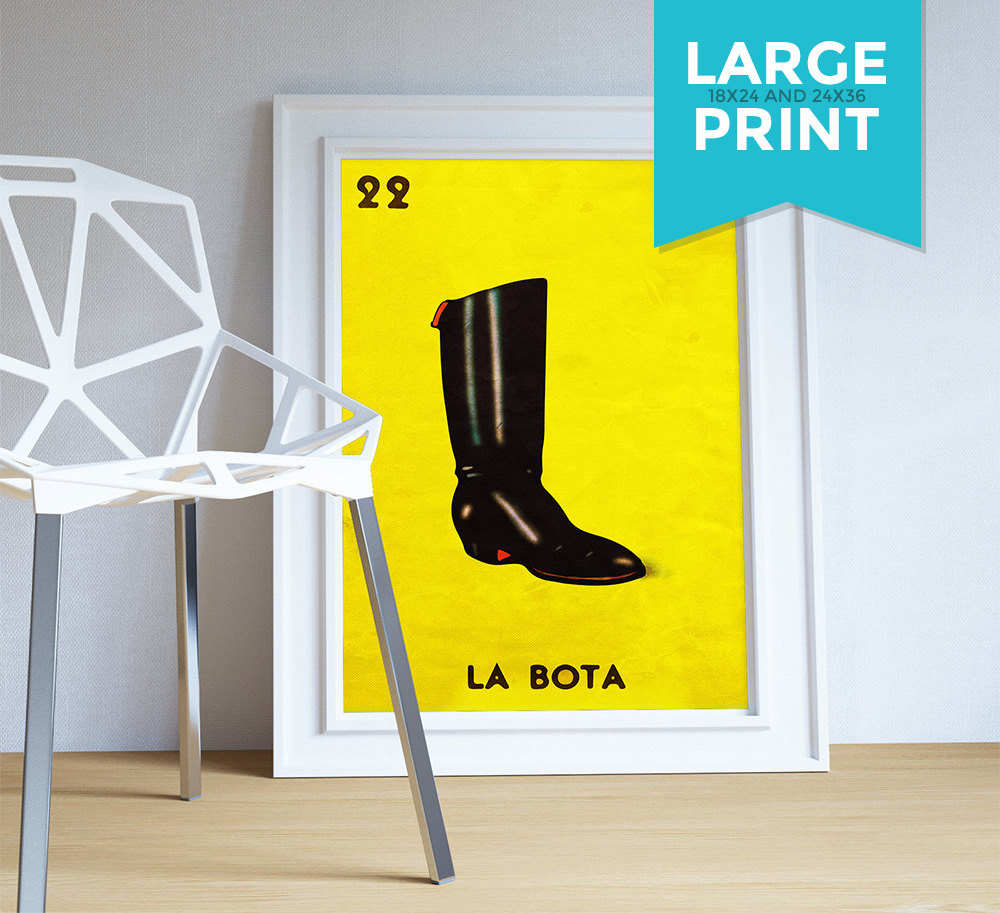Loteria La Bota Mexican Retro Illustration Art Print Vintage Giclee ...