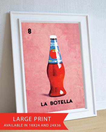 Loteria La Botella Mexican Retro Illustration Art Print 18x24, 24x36 Vintage Giclee Poster Wall Decor on Cotton Canvas and Satin Photo Paper