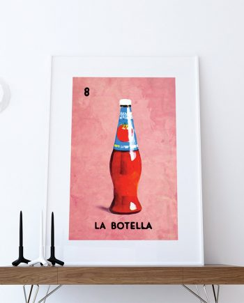 Loteria La Botella Mexican Retro Illustration Art Print Vintage Giclee on Paper Canvas Poster Wall Decor