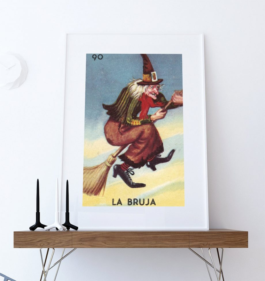 Loteria La Bruja Mexican Retro Illustration Art Print Vintage Giclee on Cotton Canvas and Satin Photo Paper