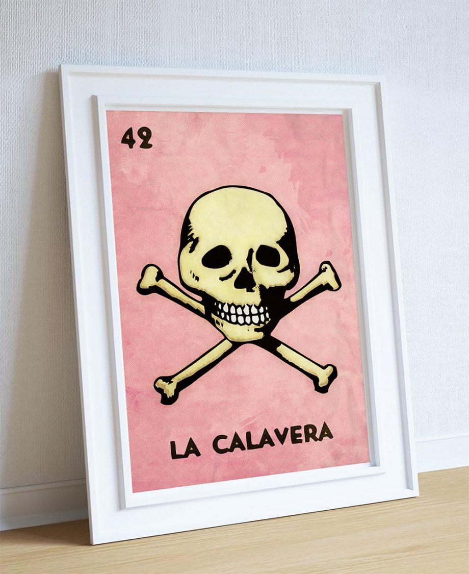 Loteria La Calavera Mexican Retro Illustration Art Print Vintage Giclee on Cotton Canvas and Paper Canvas Poster Wall Decor