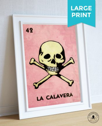 Loteria La Calavera Mexican Retro Poster Skull Illustration Wall Art Print Vintage Bingo - Large Giclee on Cotton Canvas and Satin Paper