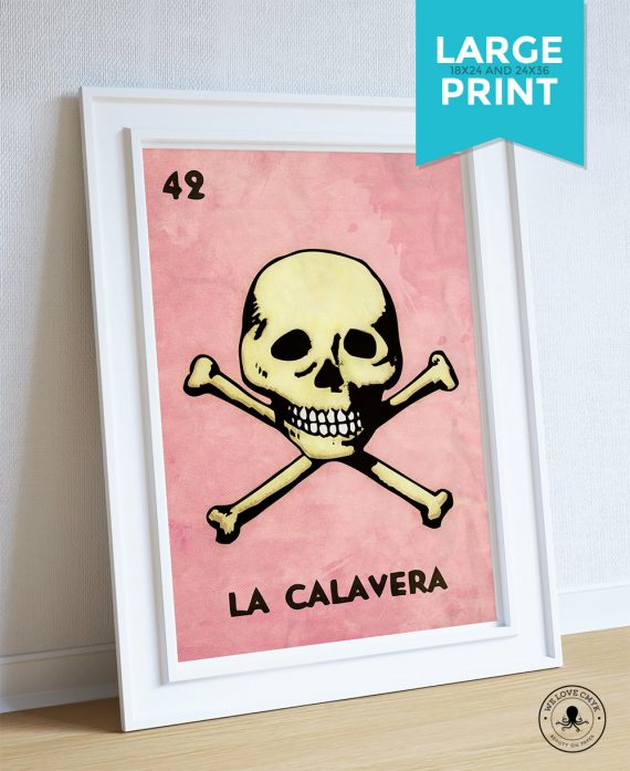 Loteria La Calavera Mexican Retro Poster Skull Illustration Wall Art Print Vintage Bingo - Large Giclee on Cotton Canvas and Satin Paper