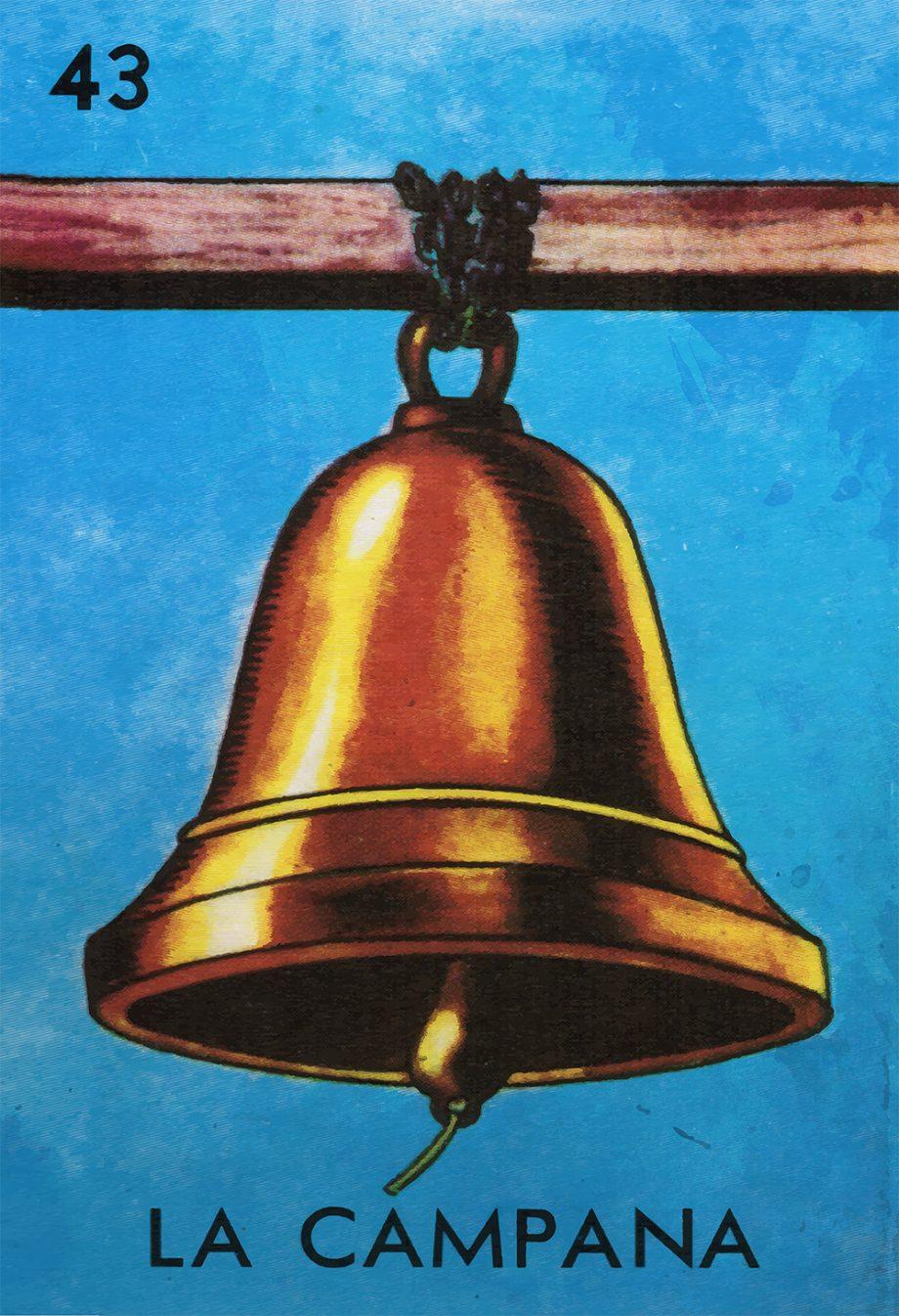 Loteria La Campana Mexican Retro Illustration Art Print Vintage Giclee on Cotton Canvas or Paper Canvas Poster Wall Decor