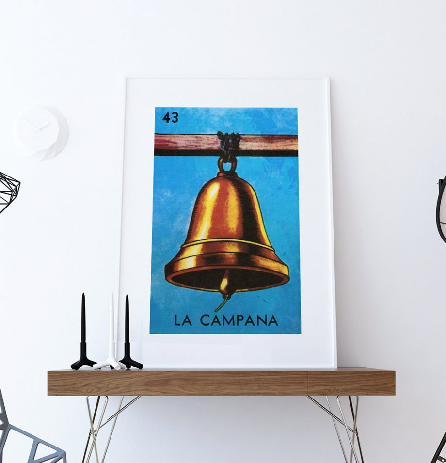 Loteria La Campana Mexican Retro Illustration Art Print Vintage Giclee Poster Wall Decor on Cotton Canvas and Satin Photo Paper