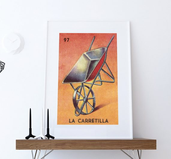 Loteria La Carretilla Mexican Retro Illustration Art Print Vintage Giclee on Cotton Canvas or Paper Canvas Poster Wall Decor