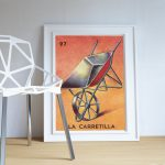Loteria La Carretilla Mexican Retro Illustration Art Print Vintage Giclee on Cotton Canvas or Paper Canvas Poster Wall Decor