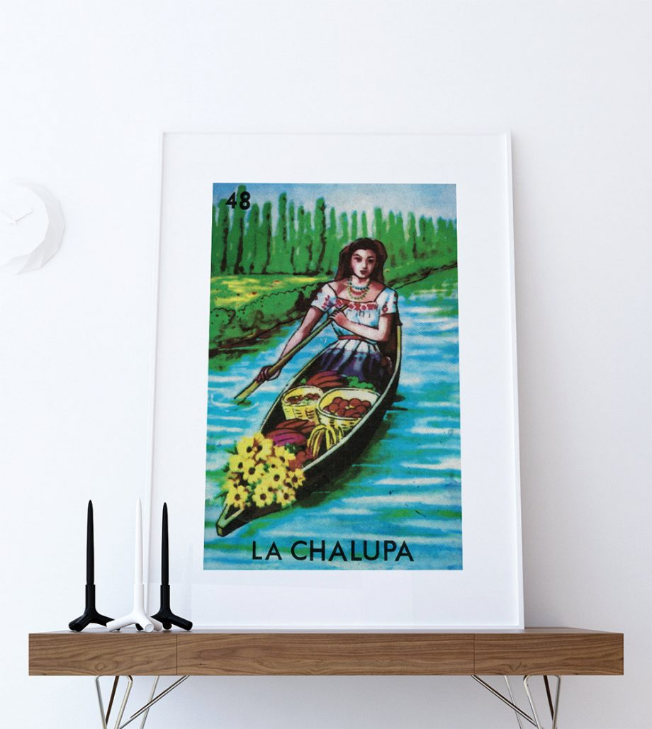 Loteria La Chalupa Mexican Retro Illustration Art Print Vintage Giclee on Cotton Canvas or Paper Canvas Poster Wall Decor