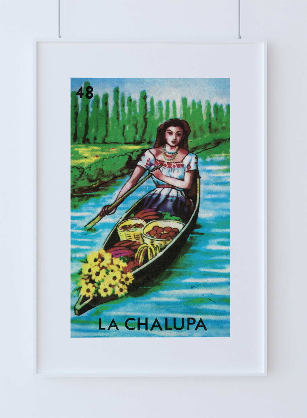 Loteria la chalupa mexican retro illustration art print for Newspaper canvas art