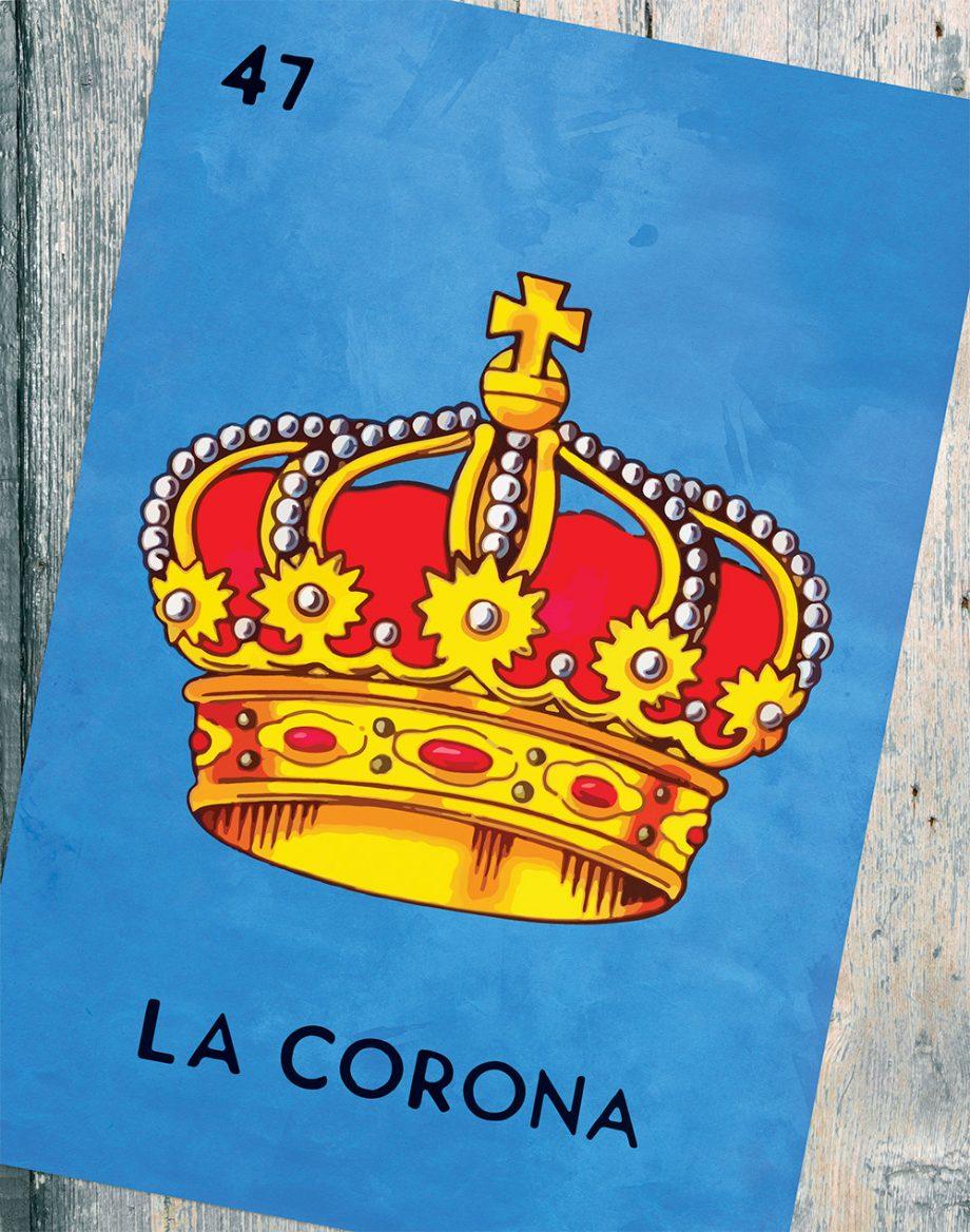 Loteria La Corona Mexican Retro Illustration Art Print Vintage Giclee on Cotton Canvas and Paper Canvas Poster Wall Decor