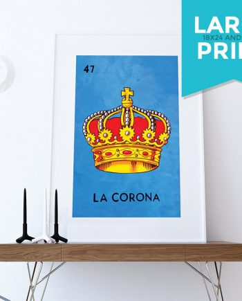 Loteria La Corona Mexican Retro Illustration Large Poster Art Print Vintage Giclee on Satin or Cotton Canvas Poster Wall Decor