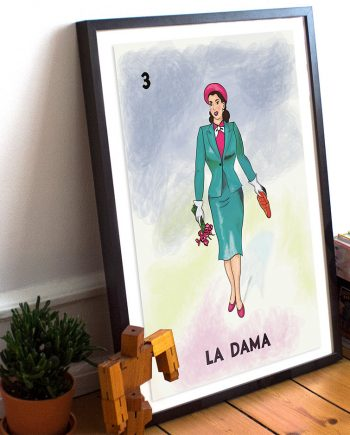 Loteria La Dama Mexican Retro Poster Illustration Art Print Vintage Bingo Giclee on Cotton Canvas or Paper Canvas Wall Decor