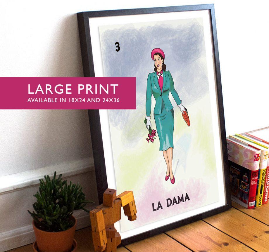 Loteria La Dama Mexican Retro Poster Illustration Art Print Vintage Bingo - Large Giclee on Cotton Canvas and Satin Paper Wall Decor