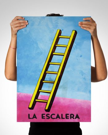 Loteria La Escalera Mexican Retro Illustration Art Print Vintage Giclee on Cotton Canvas and Paper Canvas Poster Wall Decor