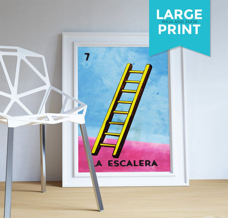 Loteria La Escalera Mexican Retro Illustration Large Poster Art Print Vintage Giclee on Satin or Cotton Canvas Wall Decor