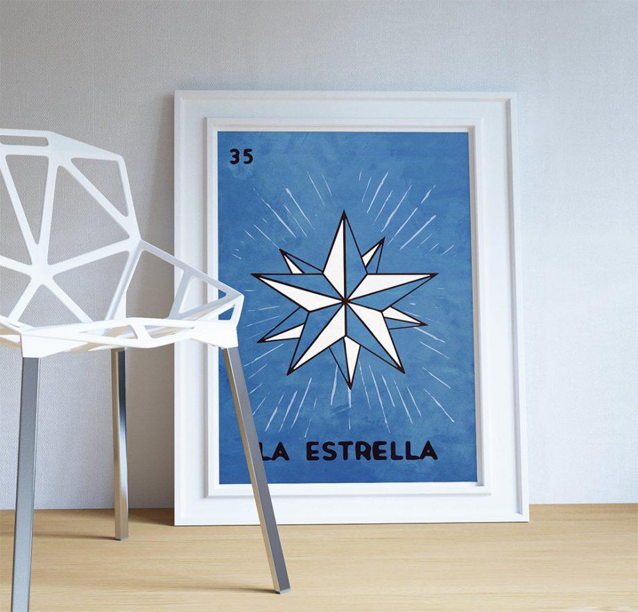 Loteria La Estrella Mexican Retro Illustration Art Print Vintage Giclee on Cotton Canvas and Paper Canvas Poster Wall Decor