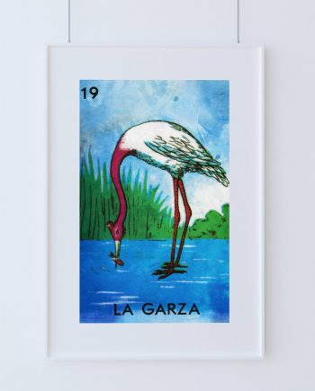 Loteria La Garza Mexican Retro Illustration Art Print Vintage Giclee on Cotton Canvas and Paper Canvas Poster Wall Decor