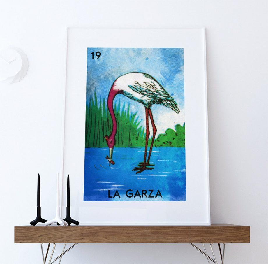 Loteria La Garza Mexican Retro Illustration Art Print Vintage Giclee on Cotton Canvas and Paper Canvas Poster Wall Decor