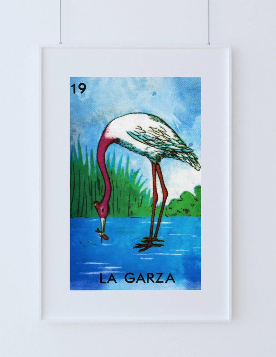 Loteria La Garza Mexican Retro Illustration Art Print Vintage Giclee Poster Wall Decor - Large Giclee on Cotton Canvas and Satin Photo Paper