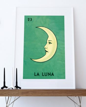 Loteria La Luna Mexican Retro Illustration Art Print Vintage Giclee on Cotton Canvas and Paper Canvas Poster Wall Decor