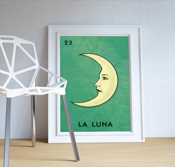 Loteria La Luna Mexican Retro Illustration Art Print Vintage Giclee on Cotton Canvas and Paper Canvas Poster Wall Decor