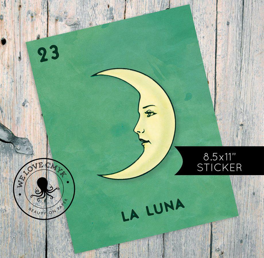 """Loteria La Luna Mexican Retro Illustration Art Sticker Vintage 8.5 x 11"""" Wall Decor"""