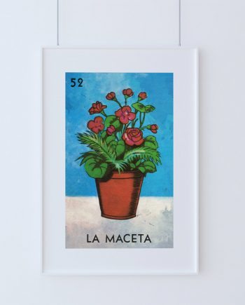 Loteria La Maceta Mexican Retro Illustration Art Print Vintage Giclee on Cotton Canvas and Paper Canvas Poster Wall Decor
