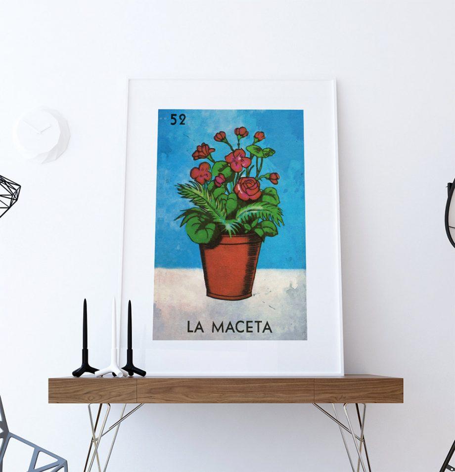 Loteria La Maceta Mexican Retro Illustration Art Print Vintage Giclee on Cotton Canvas and Paper Canvas Poster Wall Decor