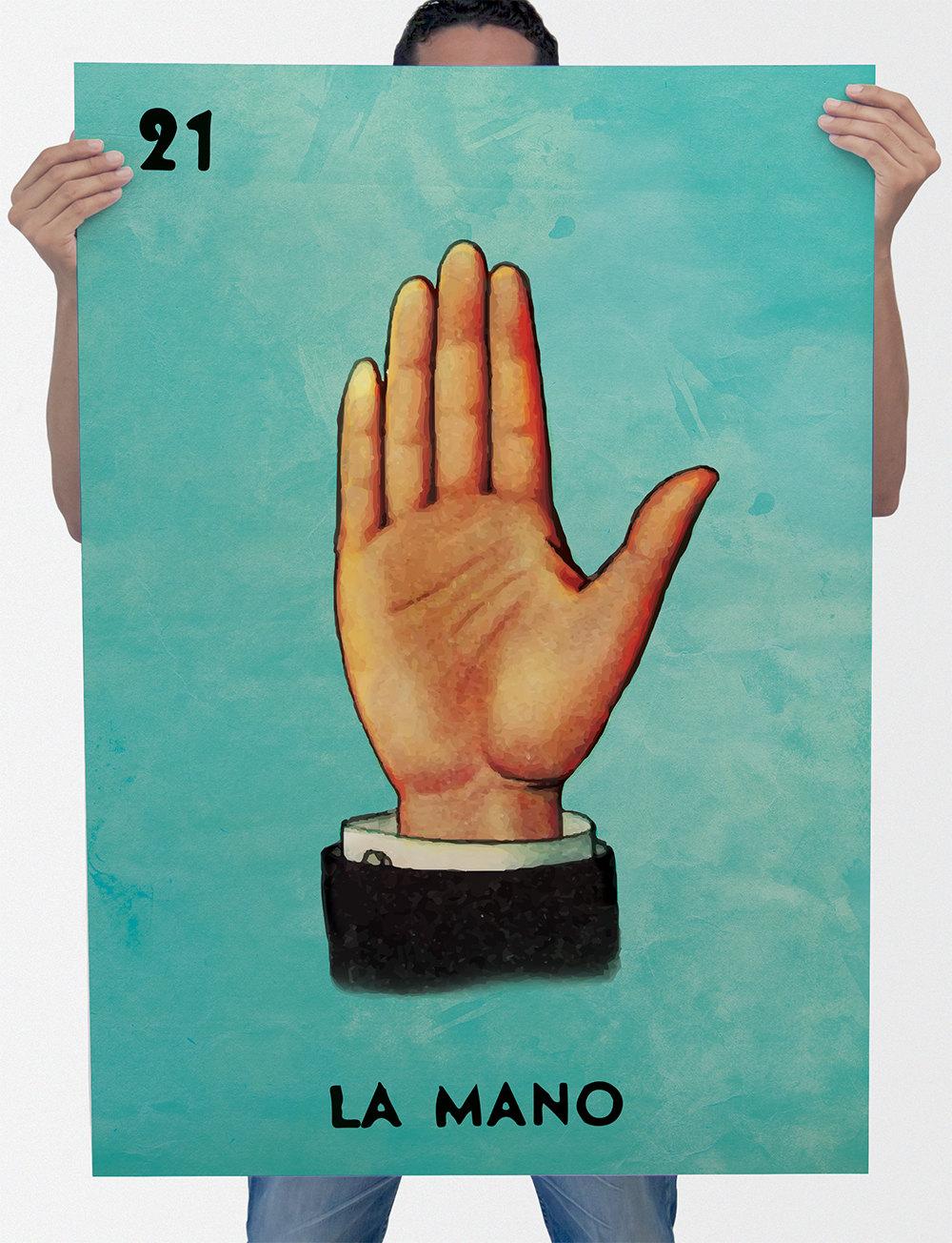 Loteria La Mano Mexican Retro Illustration Art Print