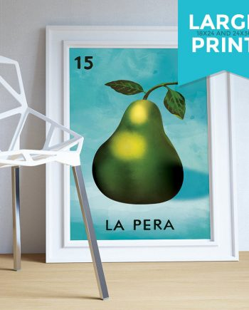 Loteria La Pera Mexican Retro Illustration Art Print Vintage Giclee on Satin or Cotton Canvas Large Poster Wall Decor