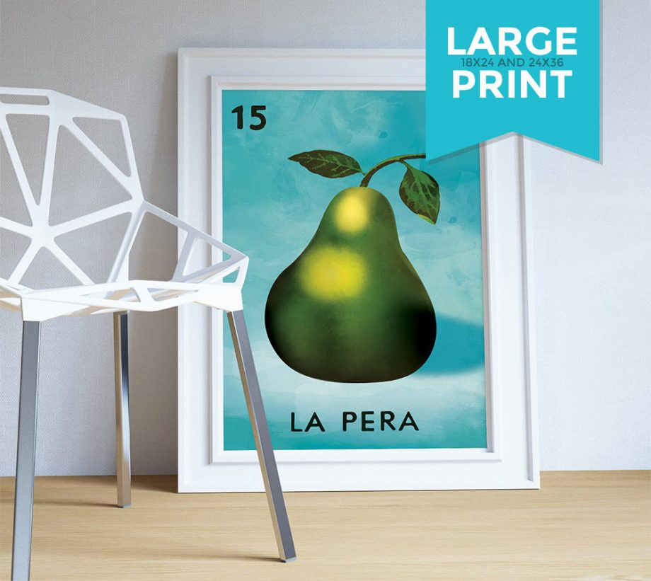 Loteria La Pera Mexican Retro Illustration Art Print Vintage Giclee on Satin or Cotton Canvas Large Poster Wall Decor