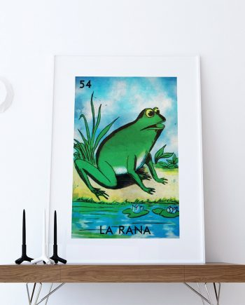 Loteria La Rana Mexican Retro Illustration Art Print Vintage Giclee on Cotton Canvas or Paper Canvas Poster Wall Decor