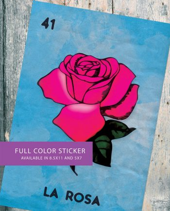 Loteria La Rosa Mexican Retro Illustration Art Sticker